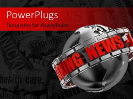 PowerPlugs: PowerPoint template with the breaking news promo on a 3D black colored globe with keywords in the background