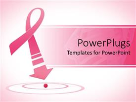 PowerPlugs: PowerPoint template with breast cancer awareness pink ribbon with arrow on pink background