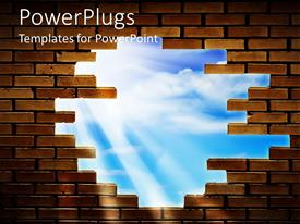 PowerPlugs: PowerPoint template with brick wall with a hole allowing view of blue sky and sun rays