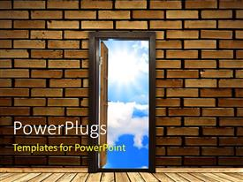 PowerPlugs: PowerPoint template with a brick wall with an opened door and sky in the background