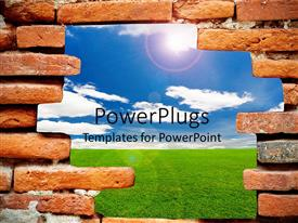 PowerPlugs: PowerPoint template with brick wall with opening showing green lawn and blue sky