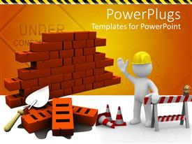 PowerPlugs: PowerPoint template with bricks with construction instruments and an engineer giving instructions about construction