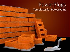 PowerPlugs: PowerPoint template with bricks with ladder