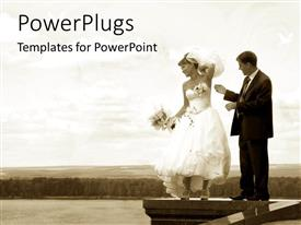 PowerPoint template displaying bride and groom standing on wall with bouquet