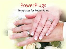 PowerPlugs: PowerPoint template with bride places hand on grooms hand over floral background