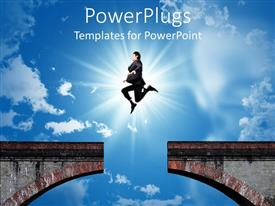 PowerPlugs: PowerPoint template with bridge with missing part and businessman jumping over the gap of the bridge with the sun in the background on bright blue sky