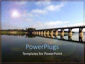PowerPlugs: PowerPoint template with bridge over calm, reflective water, clear sky