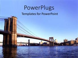 PowerPlugs: PowerPoint template with bridges over the river with city depiction with large buildings in the background