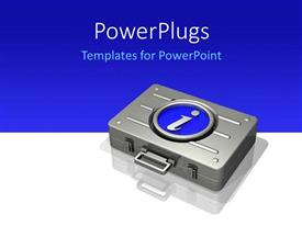 PowerPoint template displaying a briefcase with a bluish background