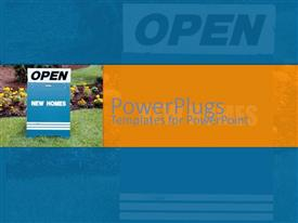 PowerPoint template displaying bright blue Open New Home sign on freshly manicured lawn