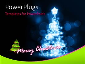 PowerPoint template displaying a bright colored Christmas tree on a blue blurry background