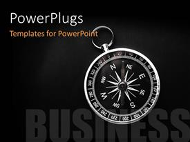 PowerPlugs: PowerPoint template with bright compass on black background with text BUSINESS depicting business direction