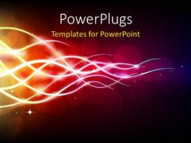 PowerPlugs: PowerPoint template with bright curved lights on dark background