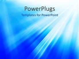 PowerPoint template displaying bright flash, explosion or burst on the blue background
