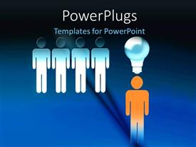 PowerPlugs: PowerPoint template with bright glowing light bulb over man depicting ideas on blue background