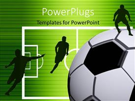 PowerPlugs: PowerPoint template with bright green background with black horizontal lines and soccer players on pitch
