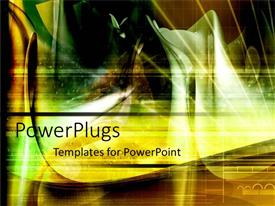 PowerPoint template displaying a bright hazy gold and green background surface tile with images