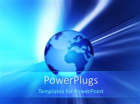 PowerPlugs: PowerPoint template with bright light glow over earth globe on blue surface