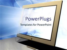 PowerPlugs: PowerPoint template with bright light shining out of a grey desktop computer