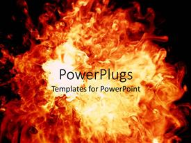PowerPlugs: PowerPoint template with bright orange flames on dark background
