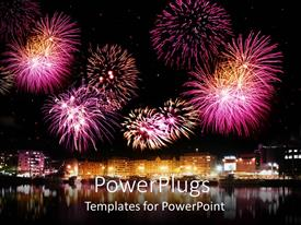 PowerPoint template displaying bright pink and purple celebratory fireworks over brightly lit city next to calm reflective water
