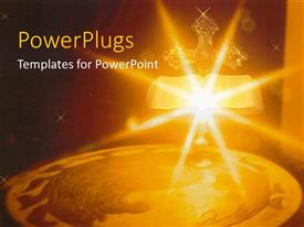 PowerPlugs: PowerPoint template with bright shinning candle light with a bible and cross
