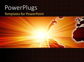 PowerPlugs: PowerPoint template with bright sun shining on planet earth with gridlines in background