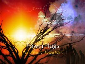 PowerPlugs: PowerPoint template with bright sunshine in cloudy sky and lightning over ocean surface