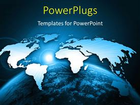 PowerPlugs: PowerPoint template with bright world map above globe with rising sun in background