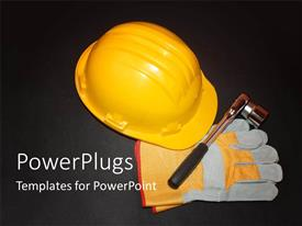 PowerPlugs: PowerPoint template with a bright yellow helmet with gloves on a black surface