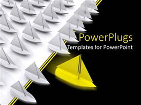 PowerPoint template displaying bright yellow sail boat breaks away from crowd of white boats