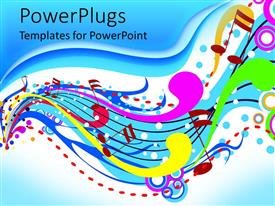 PowerPlugs: PowerPoint template with brightly colored abstract music pattern in wave