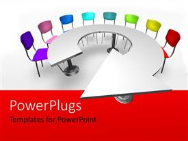 PowerPoint template displaying brightly colored chairs arranged around round arrow shaped table