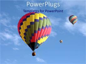 PowerPlugs: PowerPoint template with brightly colored hot air balloons in clear blue sky