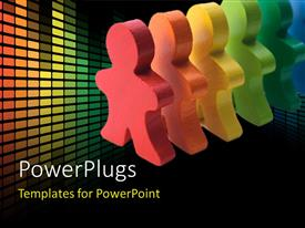 PowerPlugs: PowerPoint template with brightly colored wooden people standing in a line with colorful lights in background