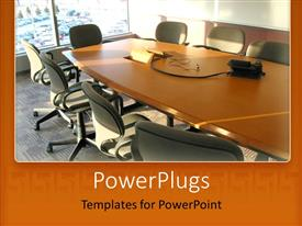 PowerPlugs: PowerPoint template with brightly lit conference room with a long table and chairs