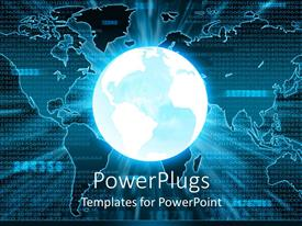 PowerPoint template displaying a brightly lit earth globe on a world map background