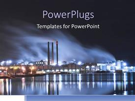 PowerPlugs: PowerPoint template with brightly lit industrial district at night