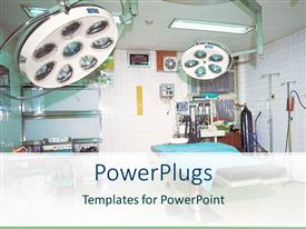 PowerPoint template displaying brightly lit operating room filled with equipment
