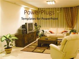 PowerPoint template displaying brightly lit well furnished living room with flower pots