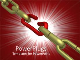 PowerPoint template displaying a broken chain with reddish background