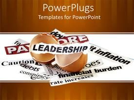 PowerPlugs: PowerPoint template with broken eggshell with leadership word on small white paper piece and paper pieces with financial related words on white background
