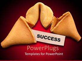 PowerPoint template displaying broken fortune cookie with word success, business