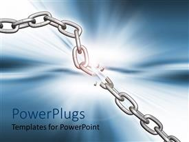 PowerPoint template displaying broken metallic chain with bright blue light in background