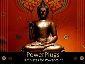 PowerPoint template displaying bronze Buddha statue on cool background