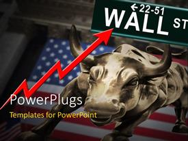 PowerPlugs: PowerPoint template with bronze bull over American flag with red financial chart and Wall Street signpost