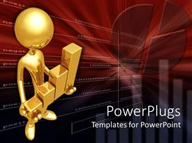PowerPlugs: PowerPoint template with bronze figure holding golden bar graph in dark red background