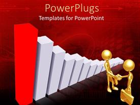 PowerPoint template displaying bronze figures carrying briefcases next to huge bar graph
