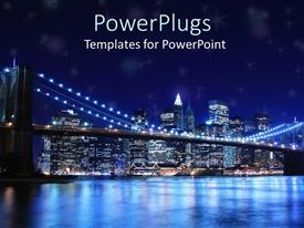 PowerPlugs: PowerPoint template with brooklyn bridge and new york city skyline at night
