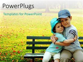PowerPlugs: PowerPoint template with a brother and a sister with greenery in the background and place for text